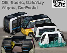 Driverless Electric bus pack 3D asset