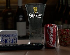 table with drinks 3D