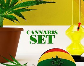 Cannabis Sativa set 3D asset