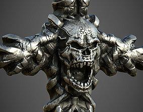 Skull cross Pendant 3d print model 15