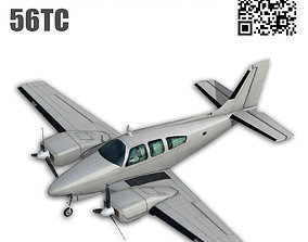 3D asset rigged Beechcraft 56TC Baron
