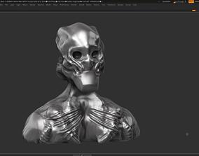 Robot bust 3d print model clay