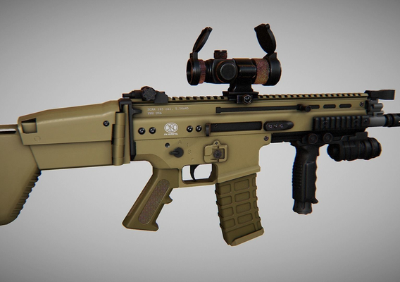 SCAR Tactical Modification - Low Poly Game Model