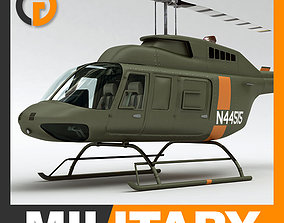 Helicopter Military Bell 206L with Interior 3D