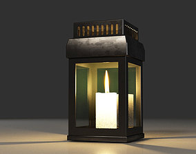 3D model Metal and glass candle lantern