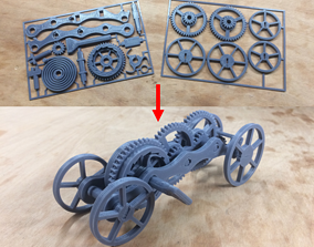 Fully 3D-printable wind-up car gift card rotating