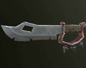 Old damaged Ork knife 3D asset