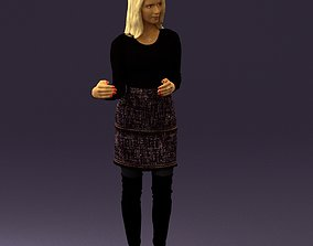 Woman in black yellow hairs 0412 3D