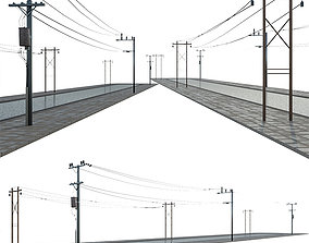 3D model wire Power line