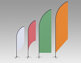 Feather banner 3D model