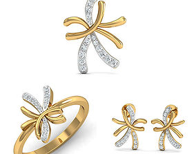 Rhino 3D CAD File Jewelry Set Ring Pendant Earring 3D 1