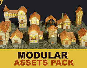 layout Stylized Medieval House Modular Pack 3D model