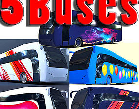 3D Second Collection of 5 Buses