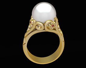 1979 Pearl Ring with flower 3D printable model