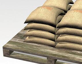 Bag 02 flour bags on pallets 3D model