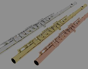 TRANSVERSE FLUTE with 3 color variations low poly 3D model