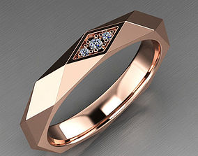 Faceted Wedding Ring with 3D printable model