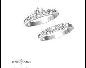 Unique bridal set rings cad jewellery 3D print model 1