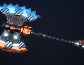 SCI-FI BATTLE AXE 3D asset