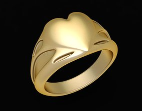 1667 Gold Heart Ring 3D printable model