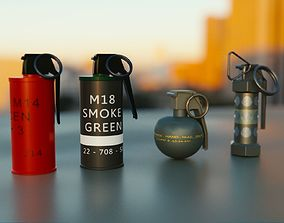 3D asset Grenades Pack Collection - M67 - AN-M18 Smoke- 3