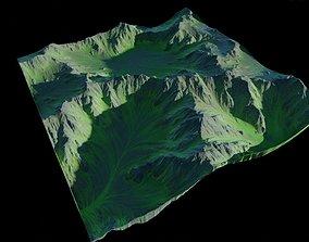 Mountainous green terrain 16k 3D