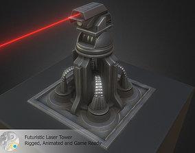 3D asset animated Futuristic Laser Gun Tower