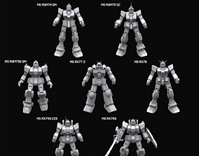 3D Gundam mobile suit Earth federation collection