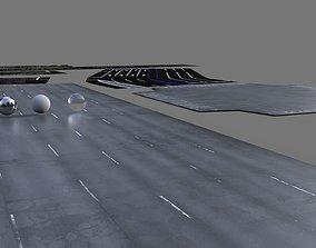 Modular roads and parking lots 3D asset