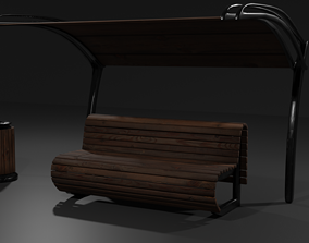 3D asset Bench awning trash can