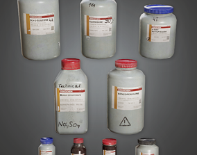 CLA - Lab Chemical Containers - PBR Game Ready 3D asset