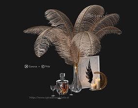 decorative set feathers wine 3D model