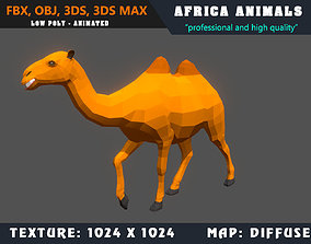Low Poly Camel Cartoon 3D Model Animated - Game animated