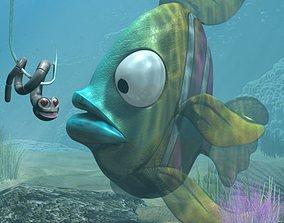 Cartoon Exotic Fish Rigged 3D asset