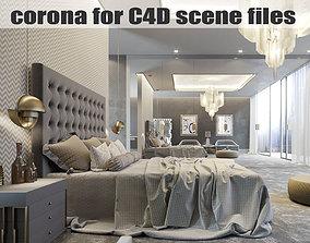 3D Corona for C4D Scene files - Modern Classic Bedroom