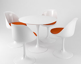 3D Saarinen Tulip chairs and table - Knoll