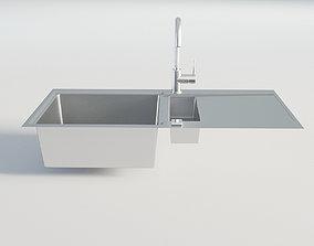 3D Kitchen Chrome Single Sink 3