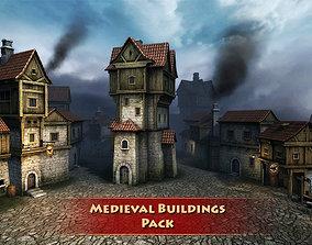3D model Medieval buildings pack
