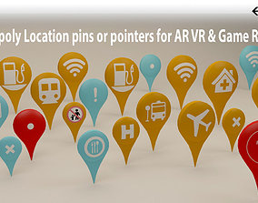 Location Pins or Icons 3D model low-poly