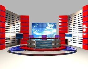 3D TV Studio News Set 4