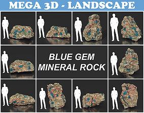 3D asset Low Poly Blue Gem Mineral Rock 210823