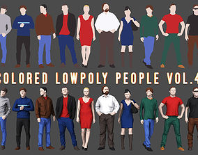 Colored Lowpoly People 3D model game-ready