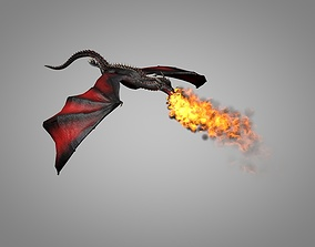 3D model animated low-poly Dragon