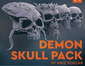 DEMON SKULL PACK - High Res 3D models by Mike Kobzar