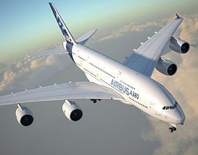 Airbus A380 with interior 3D