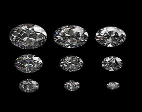 Diamond Oval Different Sizes 3D model