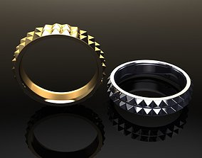 3D print model Dainty Double Row Spike Band Ring Mix 5
