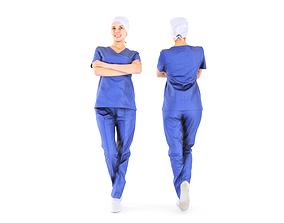 Scanned medical nurse 08 3D model low-poly