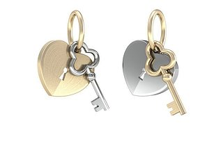 Heart and key 3D print model