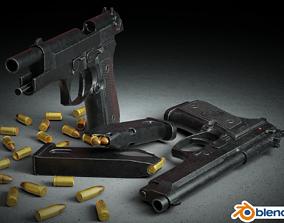 3D model rigged Beretta M9